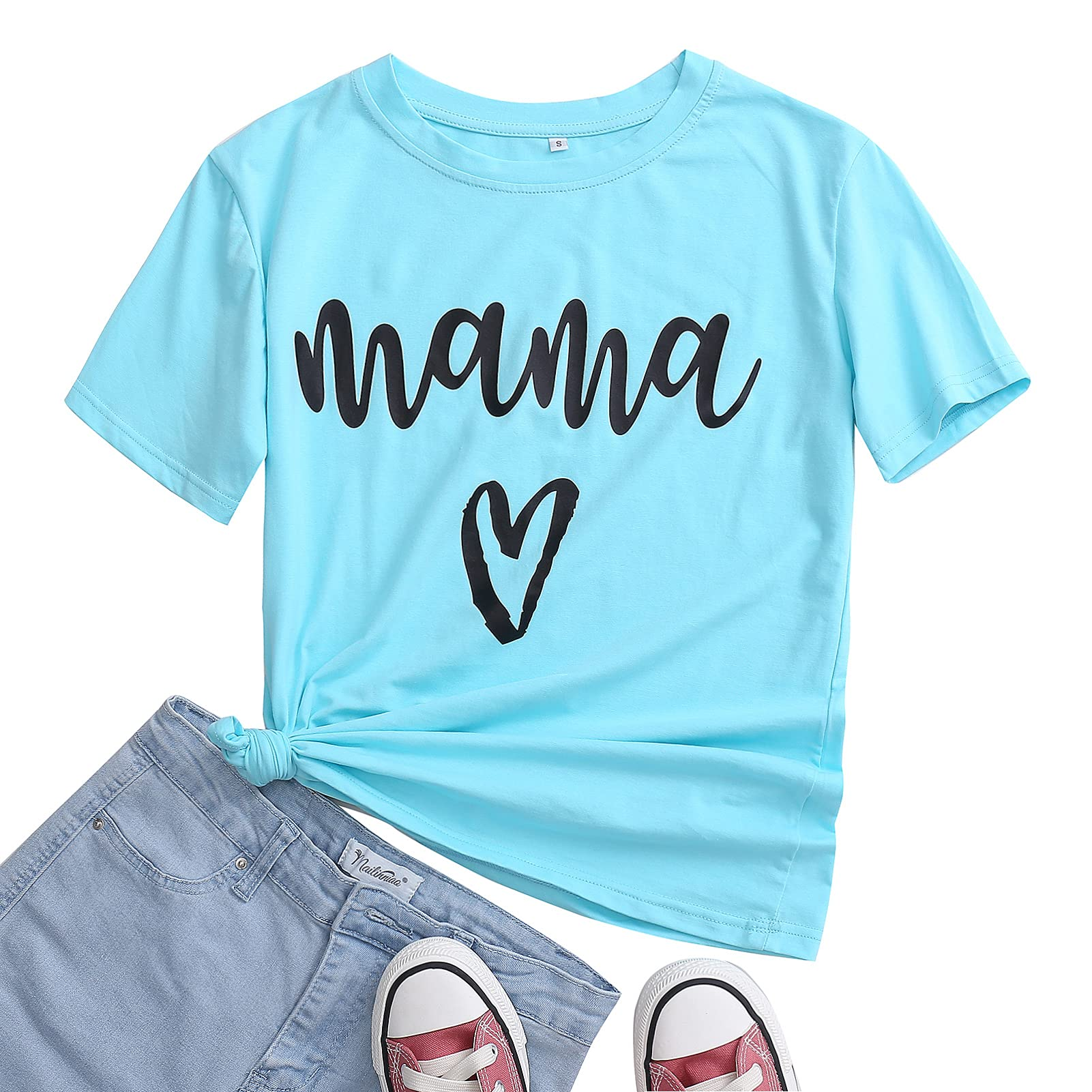 Womens Mama Bear Letter Printed Short Sleeve T-Shirts Casual Round Neck Loose