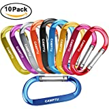 "CAMPTU Improved 3"" 10 Pcs Aluminum Large carabiners Keychain D Shape Premium Durable D-Ring Carabiner Clip camping accessories for Outdoor Home RV Camping Fishing Hiking Traveling Backpack"