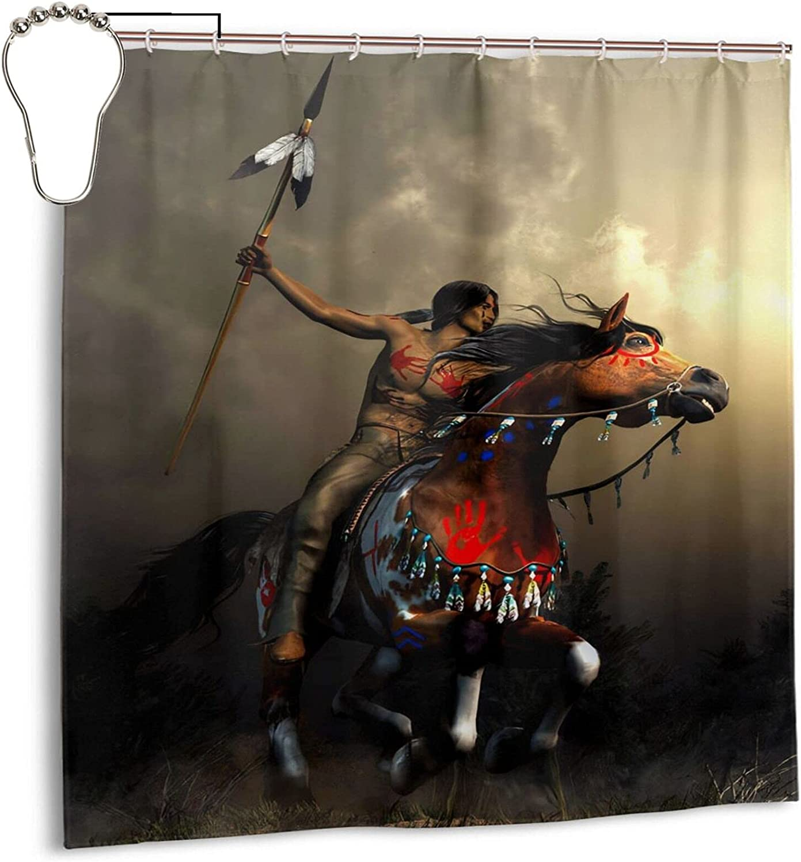 Gelingmei Native American Horse Warrior Shower Curtain,Waterproof Polyester Fabric,Bath Curtains Bathroom Decorations Home Decor Sets Beautiful Bathroom Decor with Hooks 72x72 Inch