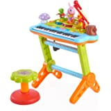 Huile Musical Kids Electronic Keyboard kids Piano 37 Keys with Microphone Musical toy Keyboard Instrument Stool