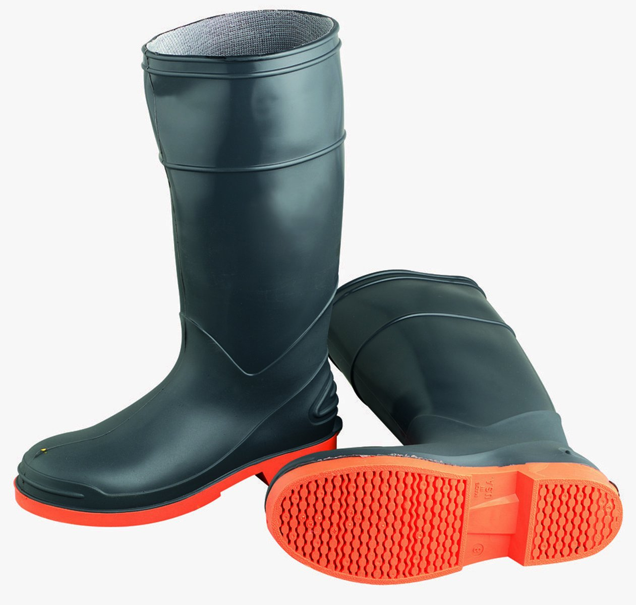 ONGUARD 87982 PVC/Nitrile Sureflex Men's Steel Toe KneeBoots with Saftey-Loc Outsole, 16'' Height, Grey/Orange, Size 14 by ONGUARD Industries (Image #1)