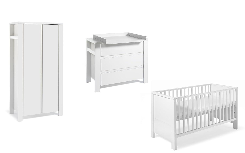 Schardt 11 650 52 02 - Kinderzimmer Milano weiß bestehend aus Kombi-Kinderbett, Umbauseiten, Wickelkommode mit Wickelaufsatz und Kleiderschrank mit 2 Türen