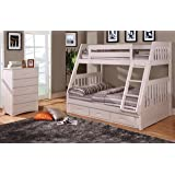 Twin Over Full Bunk Bed with Trundle, Desk, Hutch and Chair in White Finish