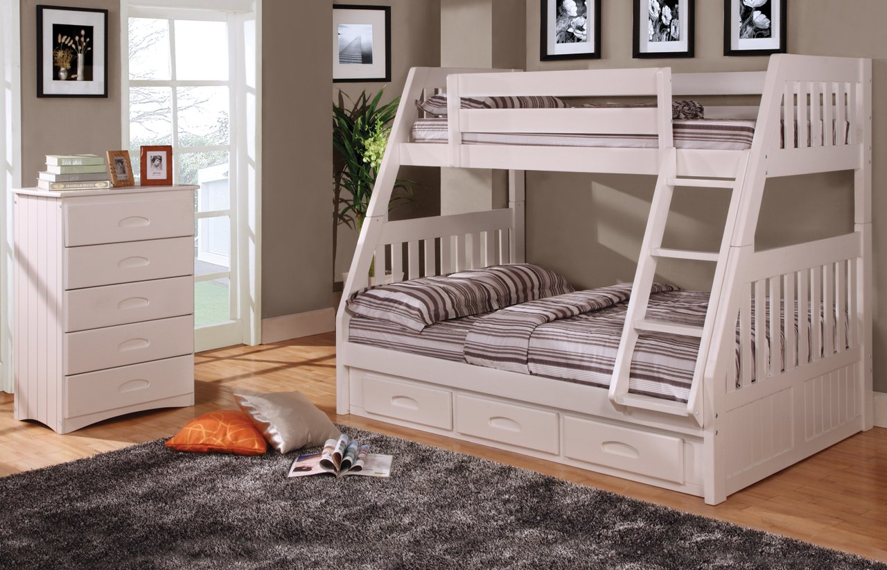 Twin Over Full Bunk Bed with Trundle, Desk, Hutch, Chair and 5 Drawer Chest in White Finish