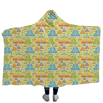 MASCULINTY Born to Blanket for Adults-Wearable,Yoga,Perfect for Kids,Colorful Figure in Lotus Pose Meditation Inspired Motifs East Asian Spiritual ...