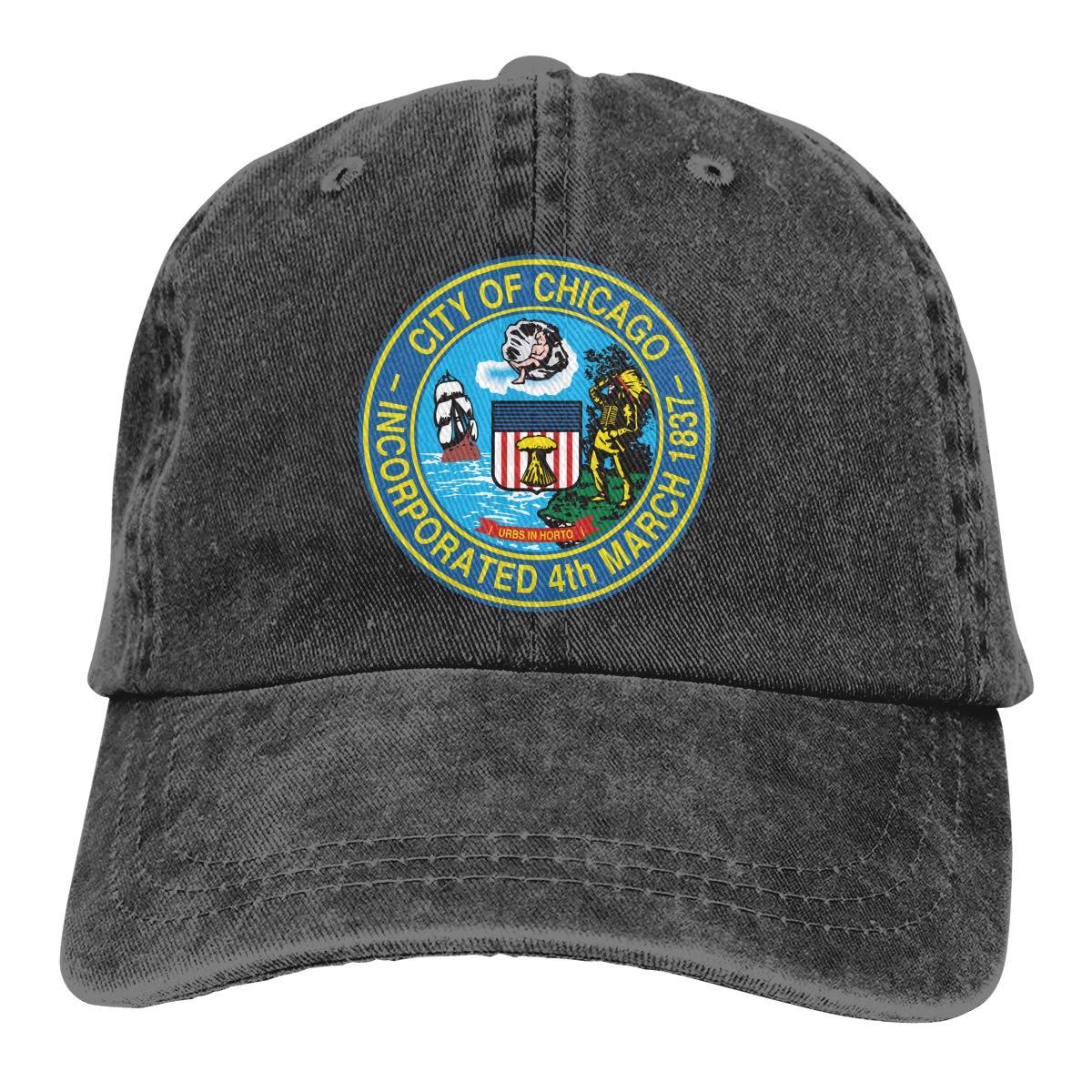 Chicago City Flag Unisex Custom Jeans Casquette Adjustable Baseball Cap