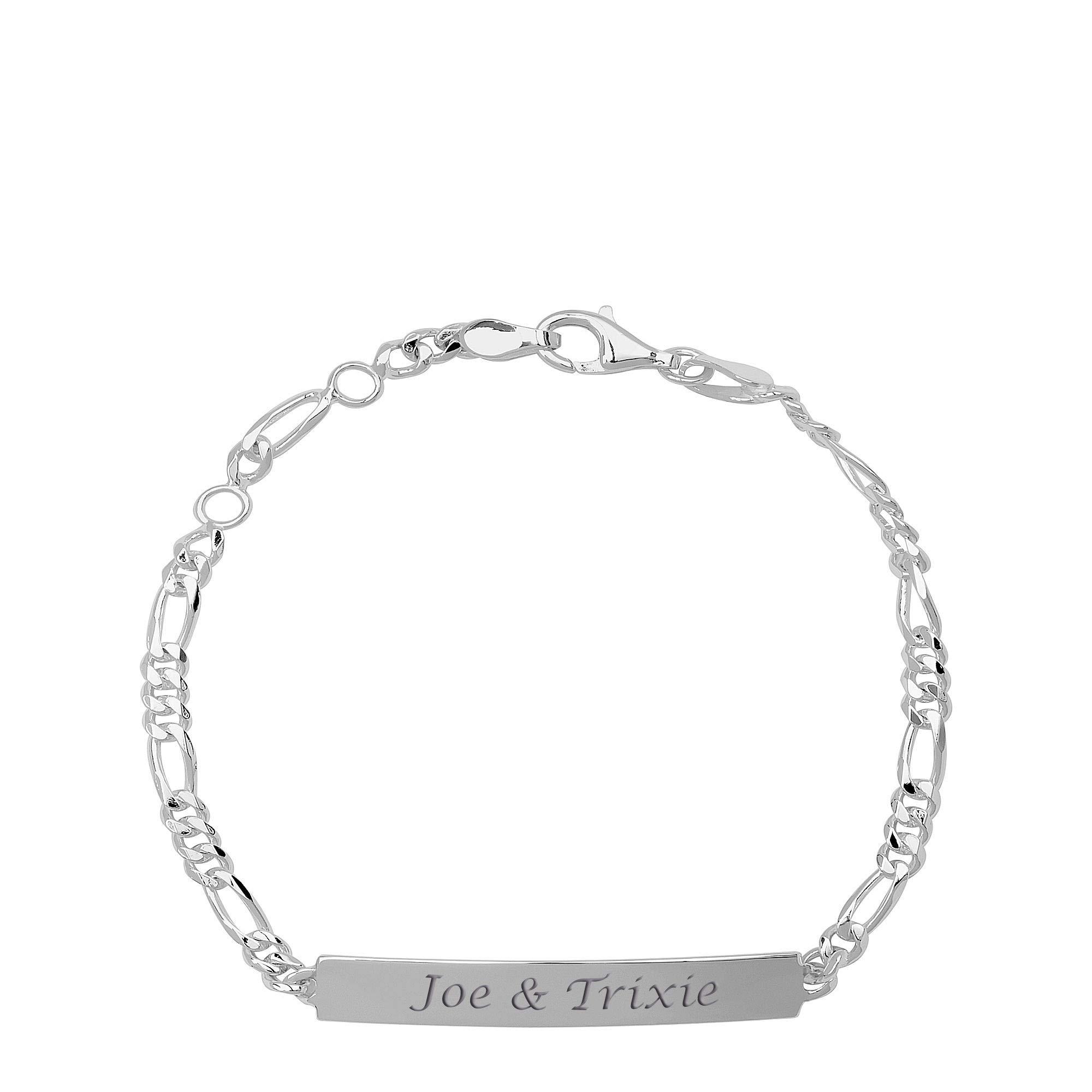 Engraved Sterling Silver Ladie's Figaro ID Bracelet 0.925