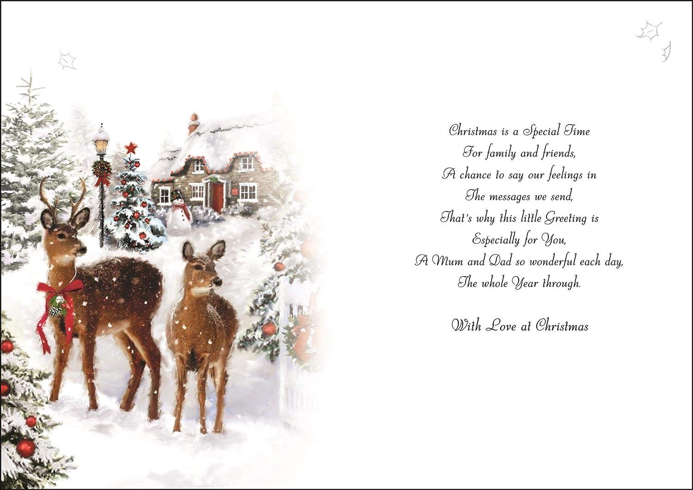 Mum Dad Christmas Card Jj Xvj043 Two Deers Flittered