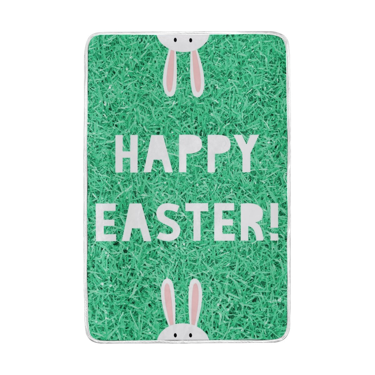 My Little Nest Happy Easter Green Grass Rabbit Cozy Throw Blanket Lightweight MicrofiberSoft Warm Blankets Everyday Use for Bed Couch Sofa 60'' x 90''