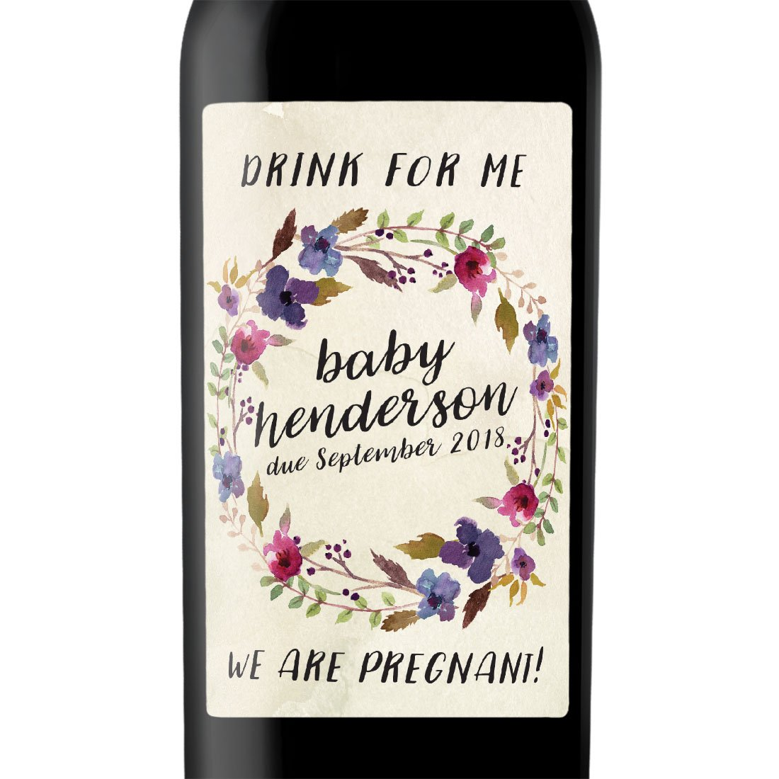 ''Drink For Me'' Custom Wine Label Bottle Stickers for Pregnancy Announcement and Baby Shower Party - Gifts for Guests, Event Invitation - Unique Specialized Personalized Bespoke Set of 4