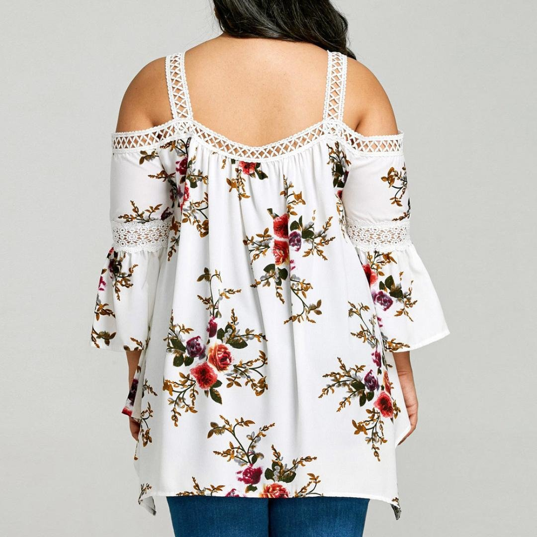 Womens Floral Printed Chiffon 3//4 Sleeve Asymmetrical Lace Cold Shoulder Blouse Army Green