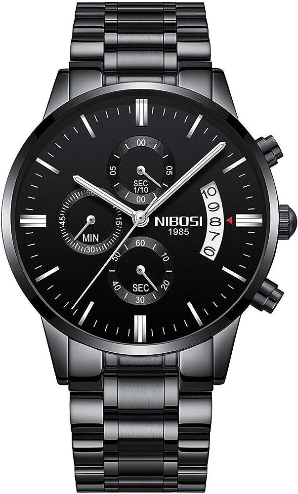 b99e57913 NIBOSI Men's Watches Luxury Fashion Casual Dress Chronograph Waterproof  Military Quartz Wristwatches for Men Stainless Steel