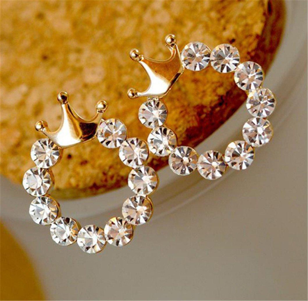 Crown Stud Earrings Fashion Round Rhinestone Glossy