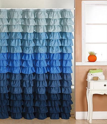 Blue Rain Ruffled Shower Curtain