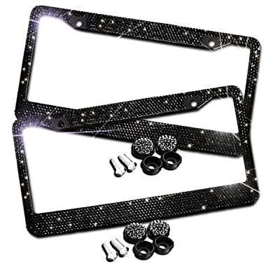 Zento Deals Sparkling Black Rhinestone Glitter Mixed Crystal Bling Stainless Steel License Plate Frame-2 Pack of All Weather-Proof Super Adhesive Black Rhinestone License Plate Frame: Automotive