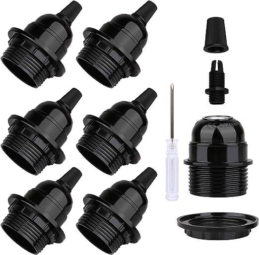 5x Bulb Holder E27 Screw Retro in White//Black Edison Fitting Or Pendant For Lamp