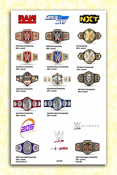 Tamatina Wrestlemania 33 Official Wall Poster - Belts - HD Quality