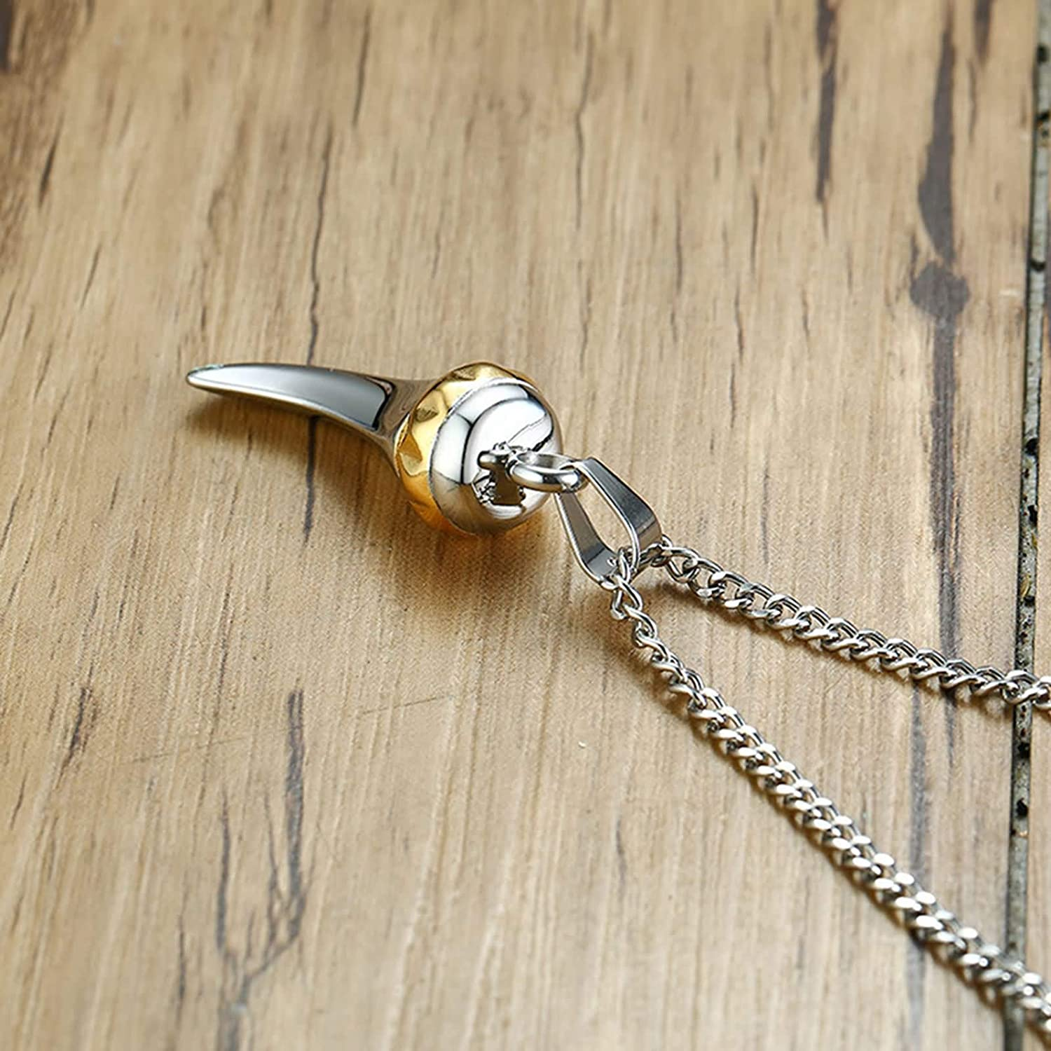 Aokarry Stainless Steel Necklace for Men Wolf Tooth Shape Pendant Necklaces Silver Length-60CM