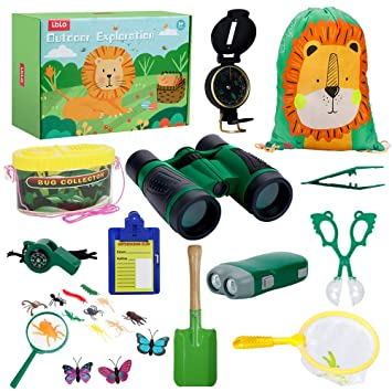 LBLA Kit de Exploración para Niños 27PCS,Juguetes Niños 4 años,Binoculares para Niños,Prismáticos, Silbato, Brújula, Lupa, Insecto,Mochilla de ...