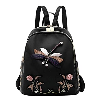 014082848e7d Amazon.com: Evan Fordd Hot Fashion Dragonfly Embroidery Backpacks ...