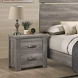 Roundhill Furniture Floren Contemporary Weathered Wood Two-Drawer Nightstand, Gray