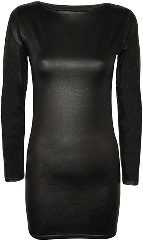 FashionMark Women's Wet Look Stretch Bodycon Ladies Long Sleeve Casual Mini Dress Top