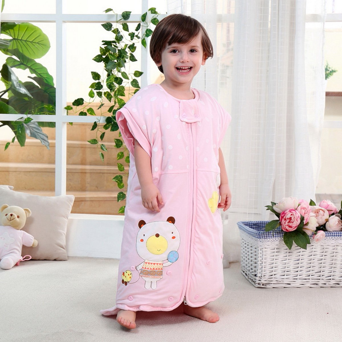 100cm Baby Boy Girl Colored Cotton Soft Winter Thick Sleepsack Sleeping Bag Swaddling Blanket w/ Removable Cap & Sleeves 6~12 Months MOONJOR
