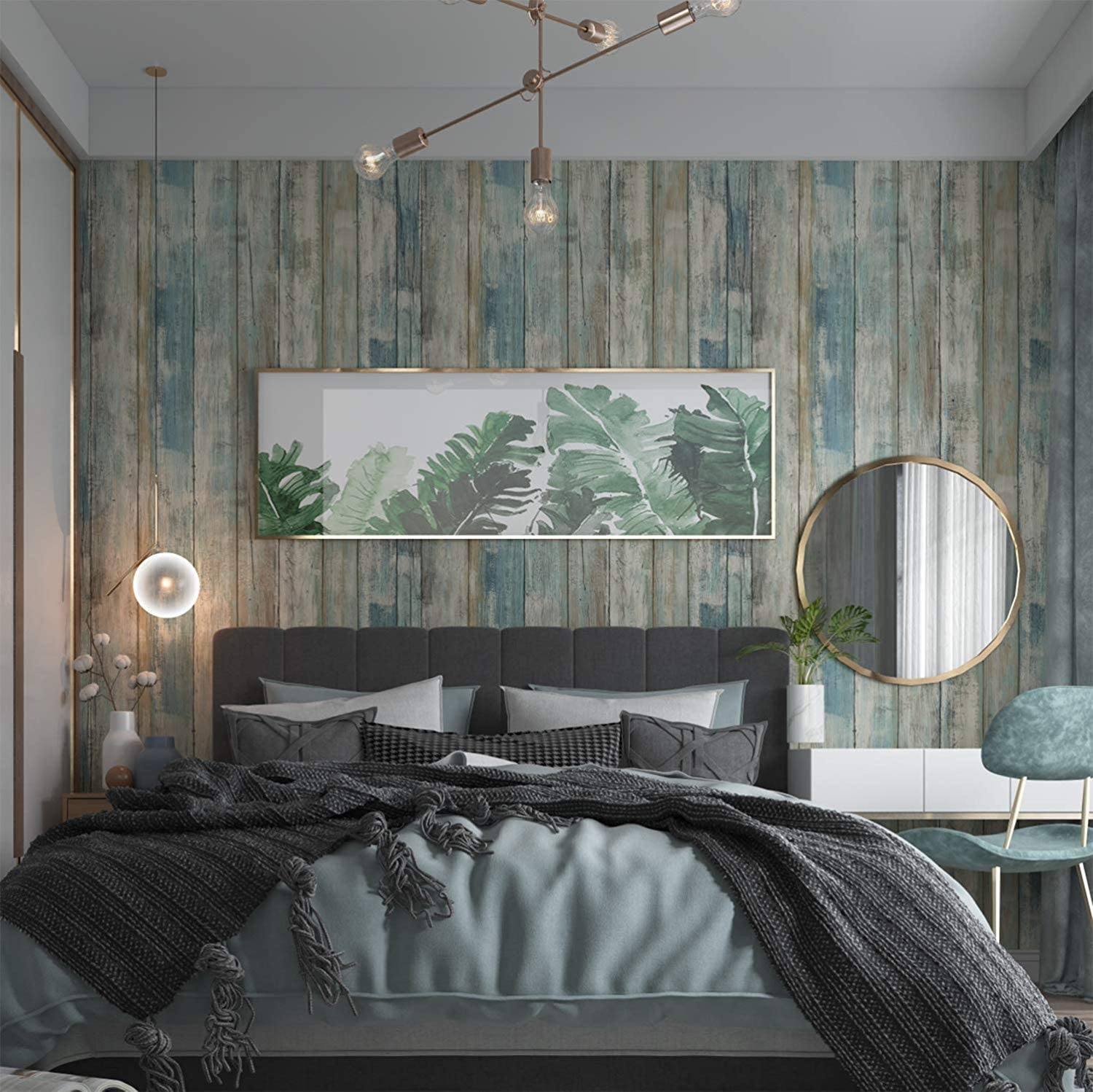 """Wood Wallpaper 11.8"""" X 78.7"""" Self-Adhesive Removable Wood Peel and Stick Paper Decorative Wall Covering Vintage Wood Panel Interior Film for Christmas Decoration"""