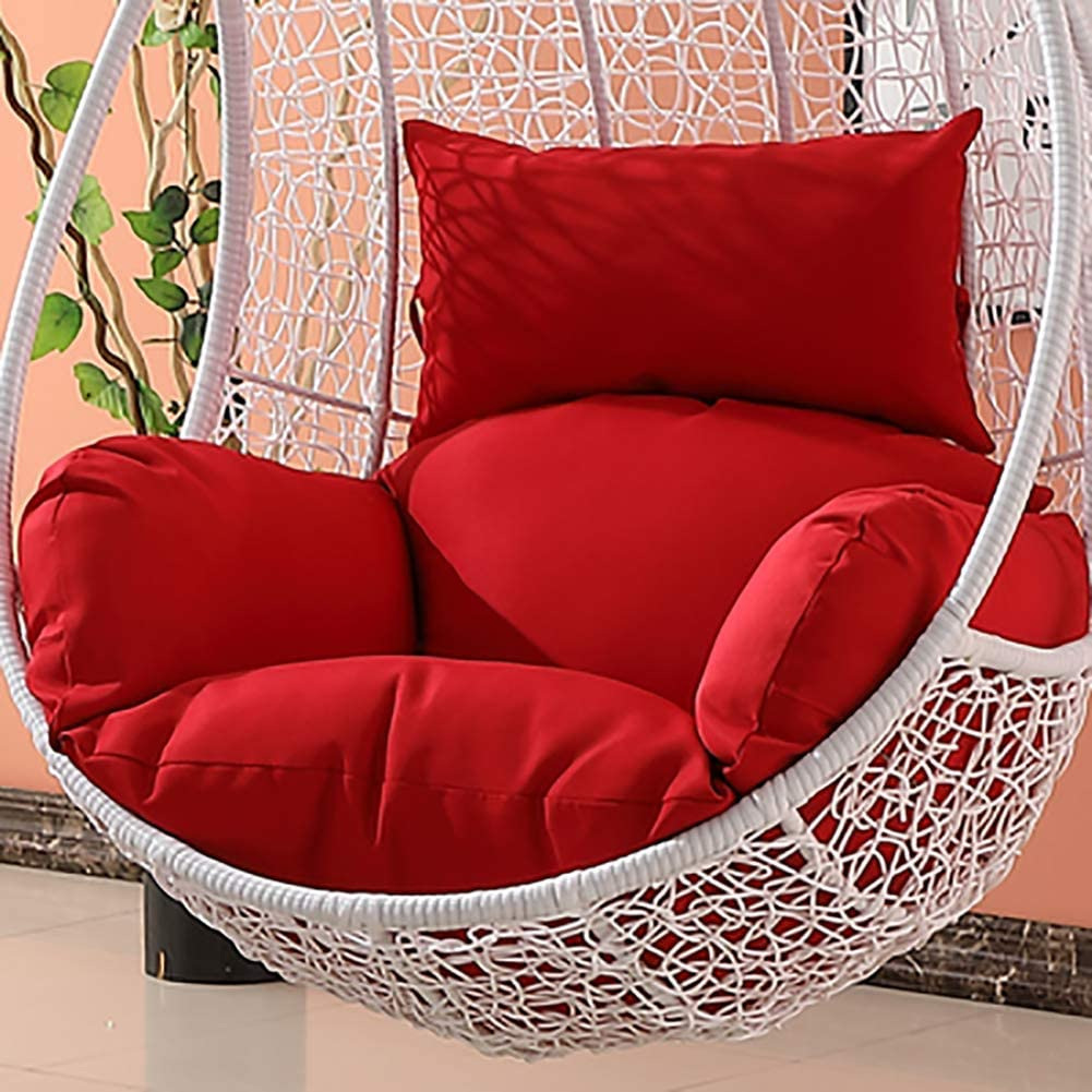MWPO Furniture Waterproof Swing Cushion, Hanging Egg Rattan Chair Wicker Hammock Pad, Balcony Patio Garden-Without Stand-White 65x56x42cm