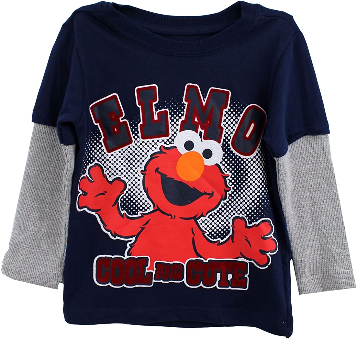 Elmo Toddler Boys Long Sleeve Shirt Cool and Cute Navy Tee