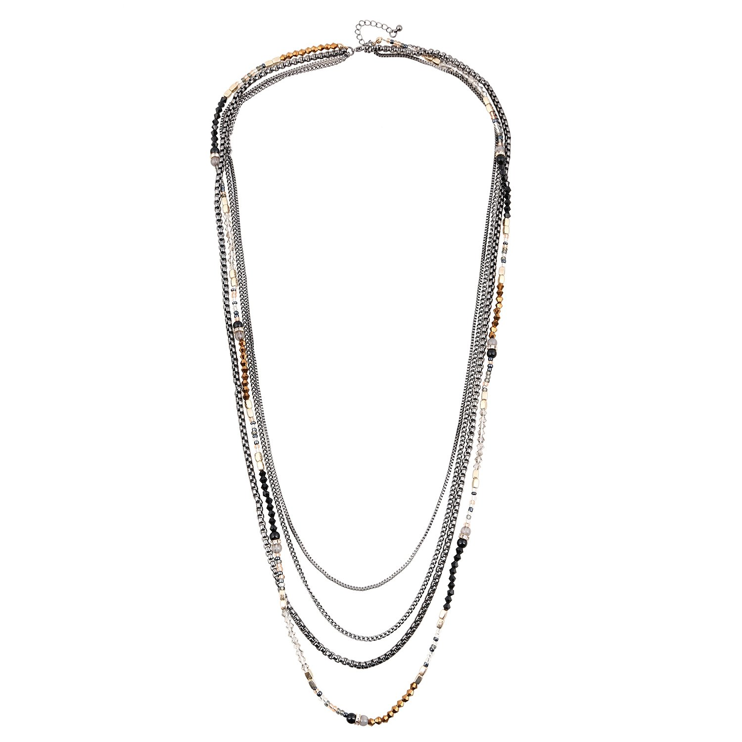 D EXCEED Jewelry Womens Multi Strand Necklace Glass Beaded Sweater Neck Chain Necklace Hematite