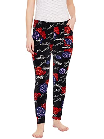 e9be245302 Camey Women s Rose Print Girls Warm Winter Fleece Feather Lounge Pajama  bottom pants With Side Pockets  Amazon.in  Clothing   Accessories