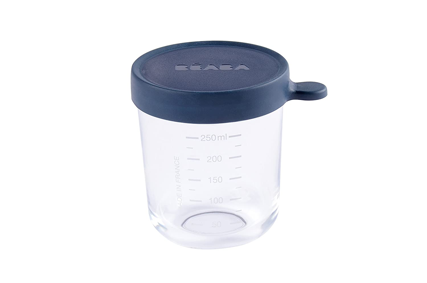 BEABA Glass and Silicone Baby Food Container with Airtight Lid, 8 oz Midnight
