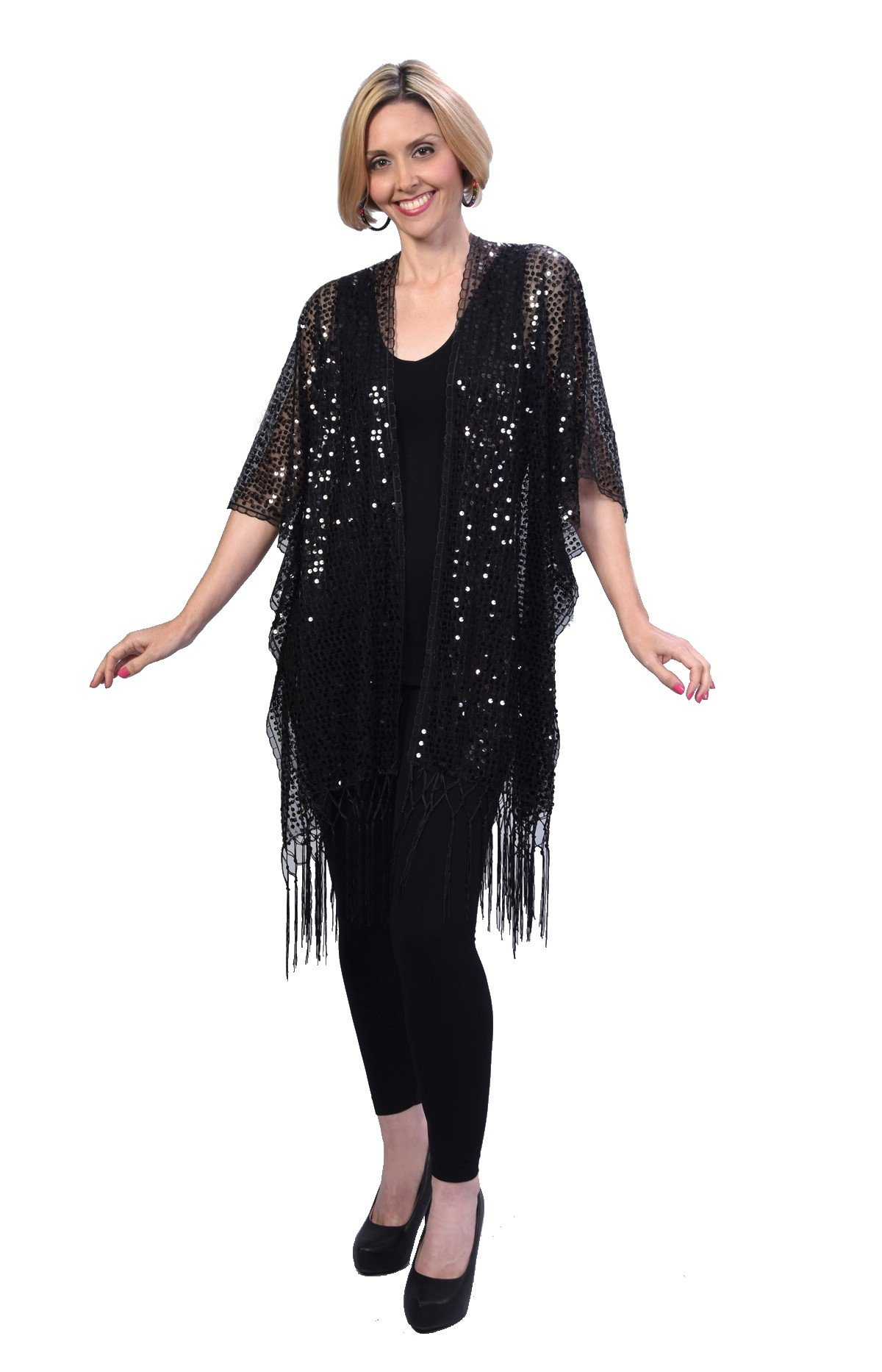 Womens Mother Of The Bride Beaded Fashion Shawl Tunic Poncho Cover up Top (Black)