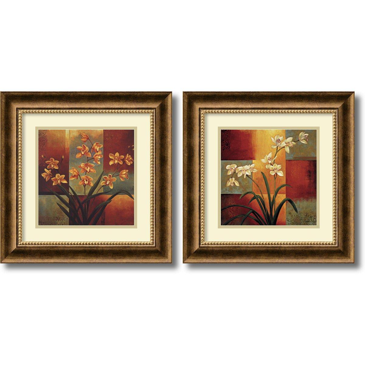 Framed Art Print, 'Orchids - set of 2' by Jill Deveraux: Outer Size 17 x 17'' Each