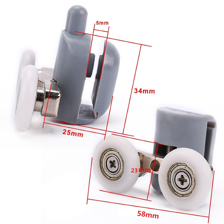 Kit 8 Doppio rulli rullo ruote cuscinetti rotelline per la porta doccia cabina 23mm Lance Home Cuscinetto Doccia