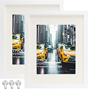 Picture Frames 11x14 Picture Frame Set of 2, Display Pictures 8x12 with Mat or 11x14 Without Mat, Solid Wood Photo Frames Wall Art Decorative for Living Room and Office Wall Decor,White