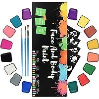 RIOGOO Kit de Pintura Facial para niños Adultos Kit de Pintura Facial Profesional para Pieles sensibles con 16 macetas…