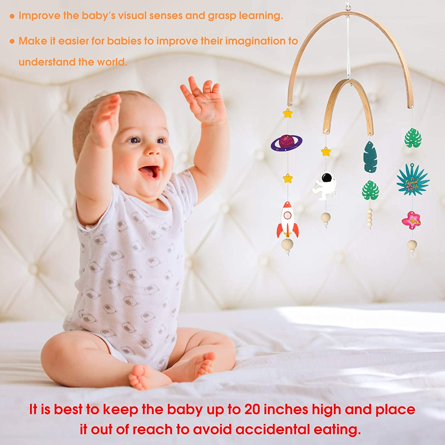 Infant Bed Decoration Toy Hanging Rotating Toys Outgeek DIY Nursery Baby Crib Mobile Kit Multifunctional Creative Decorative Wood Hanging Mobile Toys Hanging Give Visual Stimulation To Engage Your Newborn