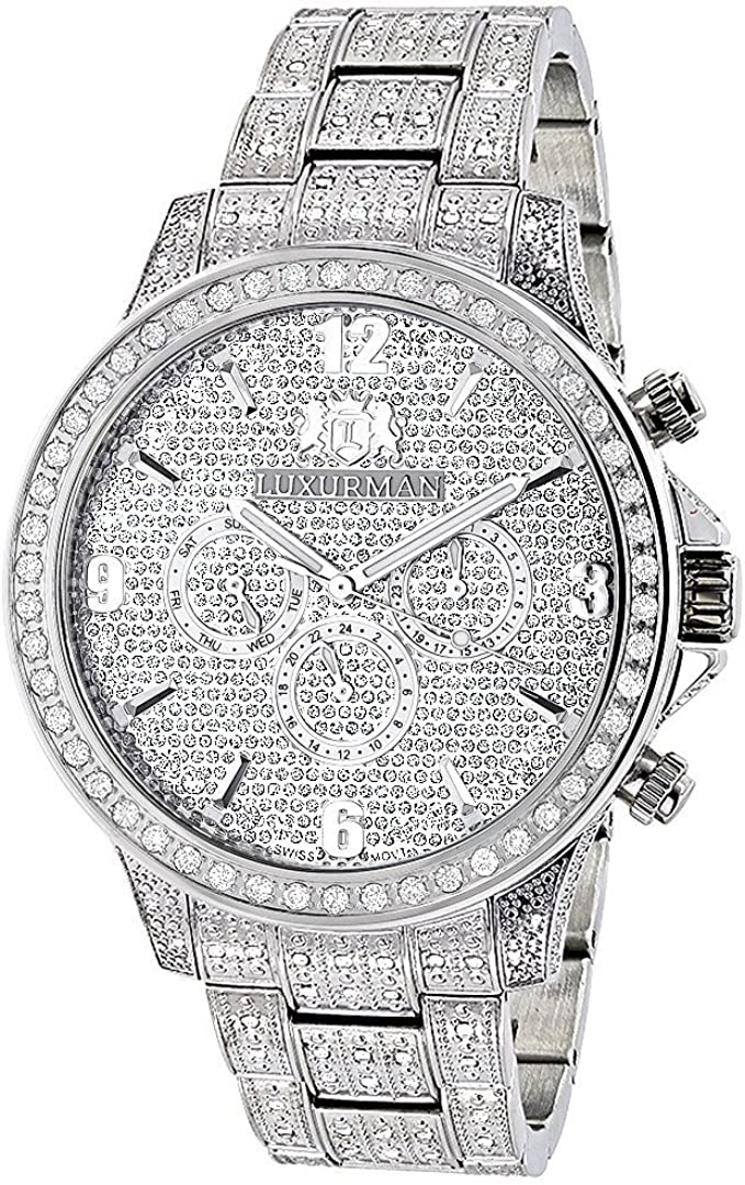 Fully Iced Out Watches: Luxurman Mens Diamond Watch 3 carats