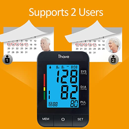 Amazon.com: WARMLIFE Accurate Automatic Upper Arm Blood Pressure Monitor Digital BP Machine Pulse Rate Monitoring Meter with 8.8-14.1in Cuff Kit,180 Records ...