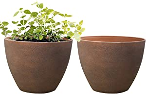 Flower Pot Outdoor Planters,Indoor Garden Plant Container Terracotta Color Resin Planter (11.3 inches Pack 2)