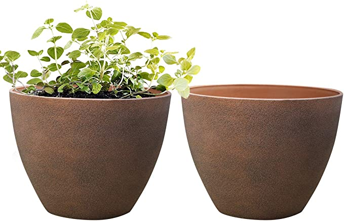La Jolie Muse Flower Pots Outdoor Large Garden Planters With Drainage Holes Set Of 2 11 3 Terracotta Color Garden Outdoor Amazon Com