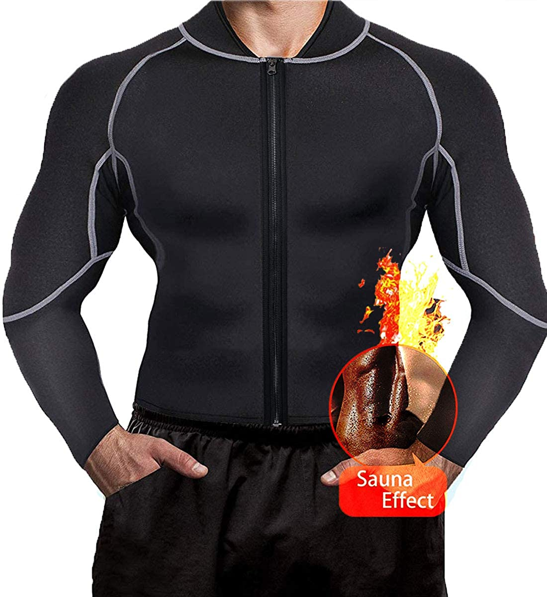 Men Sweat Sauna Suit Weight Loss Neoprene Workout Shirt Body Shaper Gym Compression Top Shapewear Fitness Long Sleeve