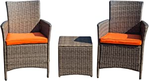 LOKATSE HOME 3 Piece Patio Bistro Set for Porch Outdoor Furniture PE Rattan Wicker Conversation Chairs with Coffee Table, Red Cushions
