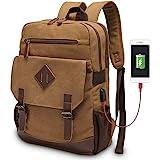 Canvas Backpack for Men Women, Vintage Rucksack Fits Most 15.6 Inch Laptop, Bookbag with USB Charging Port, Brown