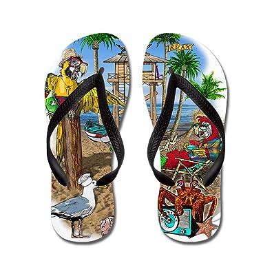 83474d8bcc2 Amazon.com | CafePress - Parrot Beach Shack - Flip Flops, Funny ...