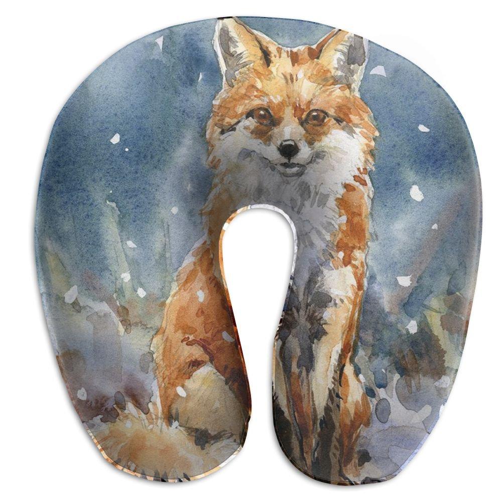 Fox Painting首枕旅行枕ネックサポート平面の枕ホーム、旅行£ ¨ 11.9 X 11.9