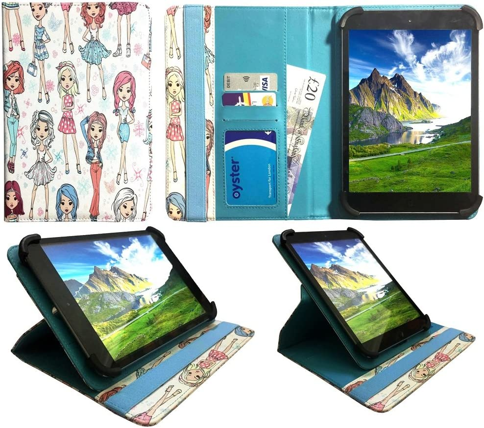 "Sweet Tech Acer Iconia Tab 8 A1-840 FHD 8"" Tablet Cute Girl Universal 360 Degree Rotating Wallet Case Cover Folio with Card Slots (7-8 inch)"