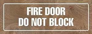 iCandy Products Inc Fire Door Do Not Block Business Office Door Building Sign 3x9 Inches, Elm Burl, Metal, Single